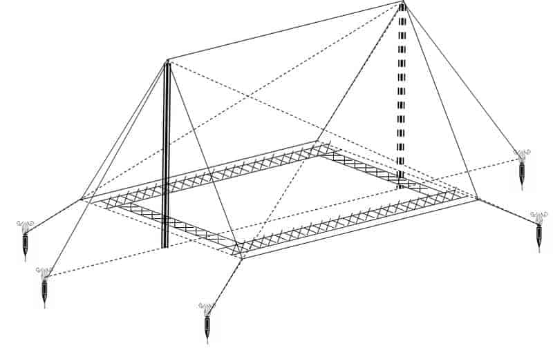 Mô hình cách dựng lều trại chữ A