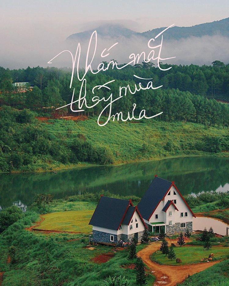 Homestay xinh xắn bên cạnh hồ Tuyền Lâm khiến người ta ngỡ như đang ở nước ngoài.