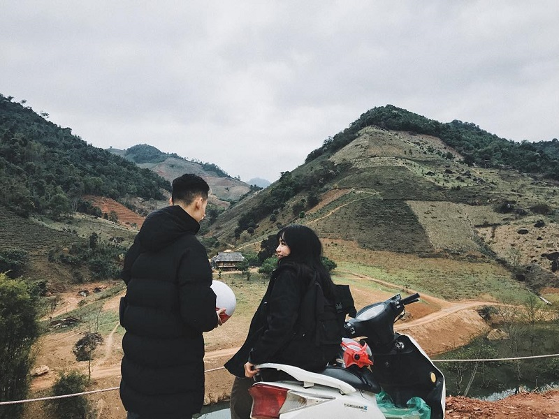 di chuyển tới thác Dải Yếm Mộc Châu Sơn La bằng xe máy