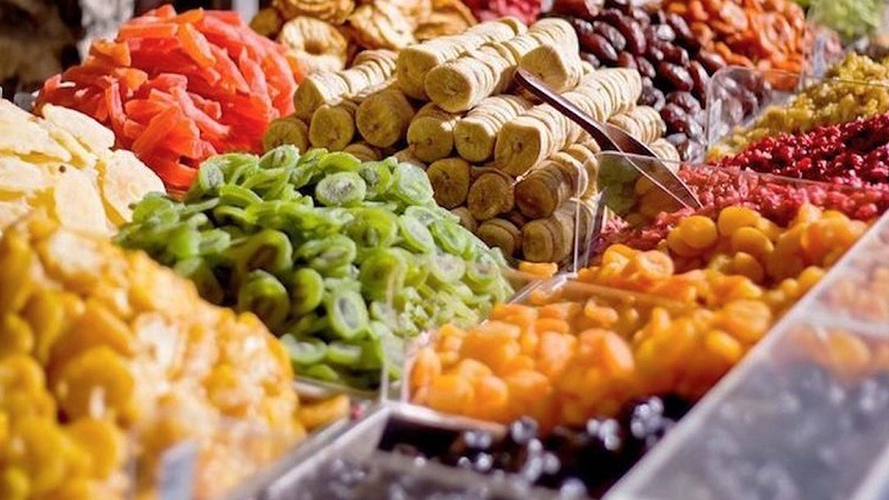 Mứt hoa quả đươc bày bán ở các khu chợ Đà Lạt