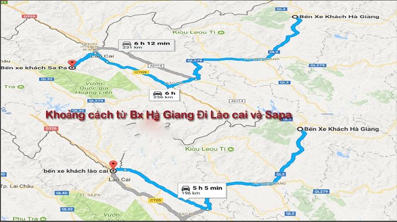 bản đồ khoảng cách từ bx Hà Giang đến Lào Cai và Sapa