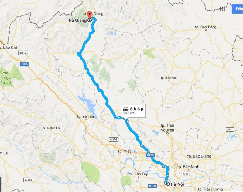 Bản đồ chỉ dẫn đường đi từ hà Nội - thành phố Hà Giang