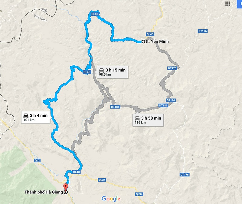 Bản đồ chỉ dẫn từ thành phố Hà Giang đến tt Yên Minh