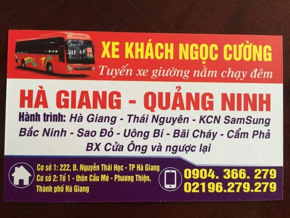 Xe khách Ngọc Cường đi Hà Giang Quảng Ninh