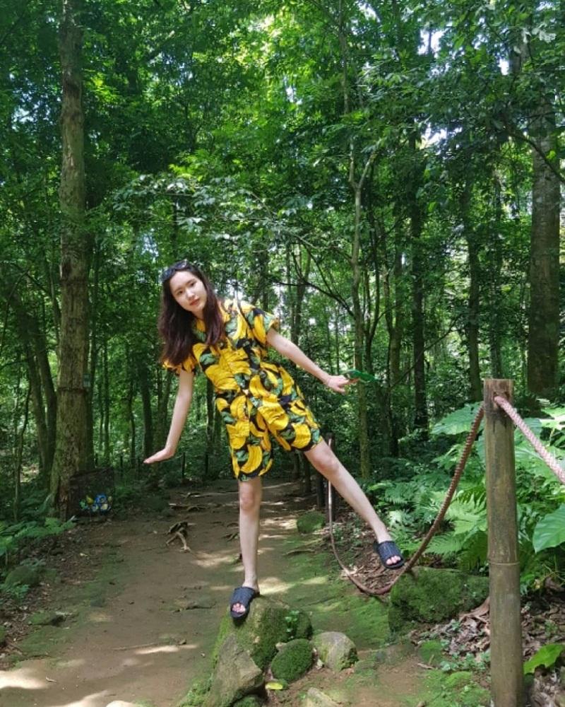Chụp ảnh giữa rừng cây xanh ở khu du lịch Đồng Mô