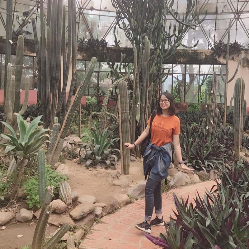 Tạo dáng chụp ảnh ở vườn xương rồng Đà Lạt
