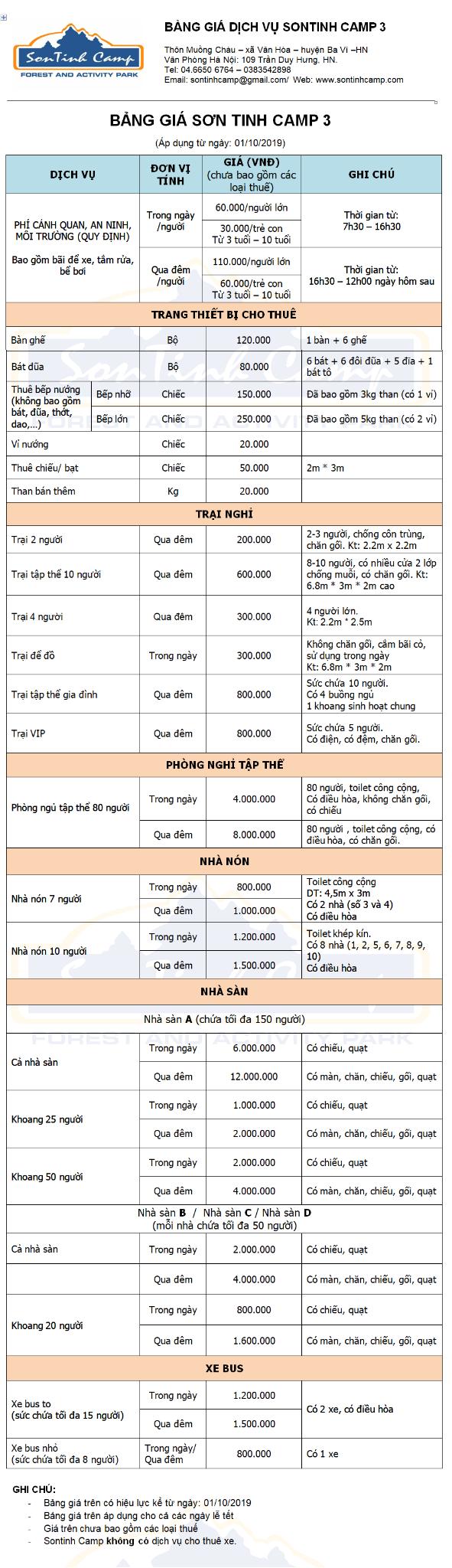 Bảng giá các dịch vụ tại Sơn Tinh Camp 3