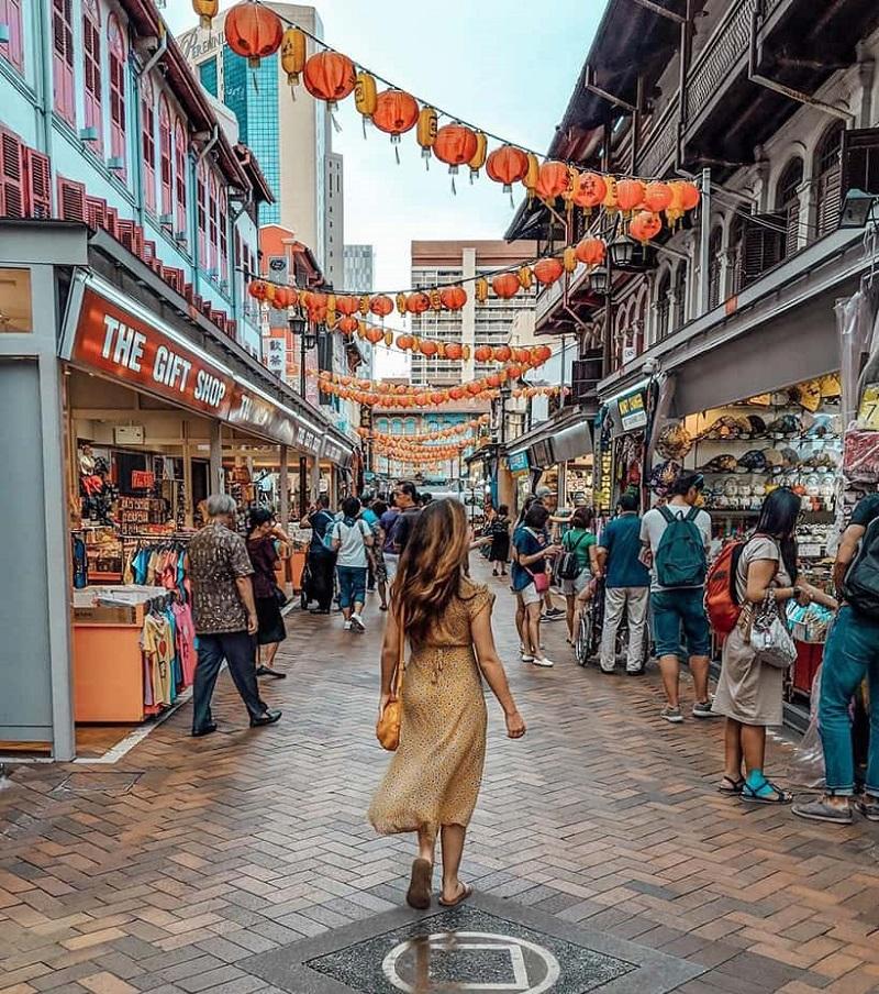 Gian hàng tại khu chợ Singapore