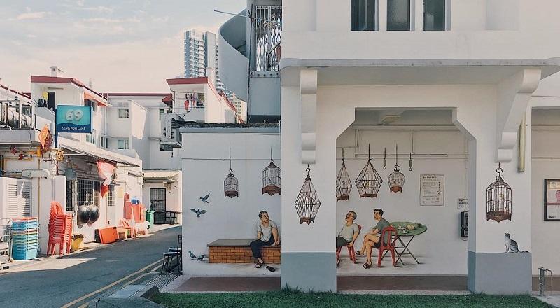 Tiong Bahru có những bức tường được trang trí sinh động