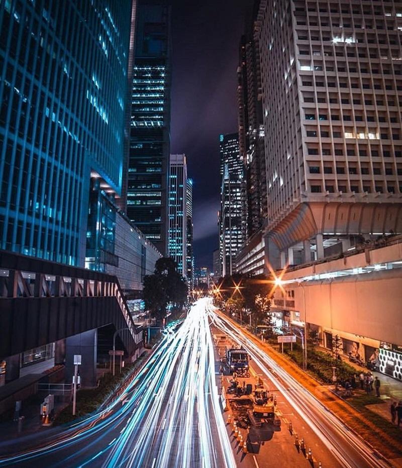 Thành phố Singapore ngập trần màu sắc về đêm
