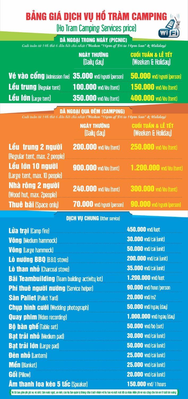Bảng giá các dịch vụ ở Hồ Tràm Camping