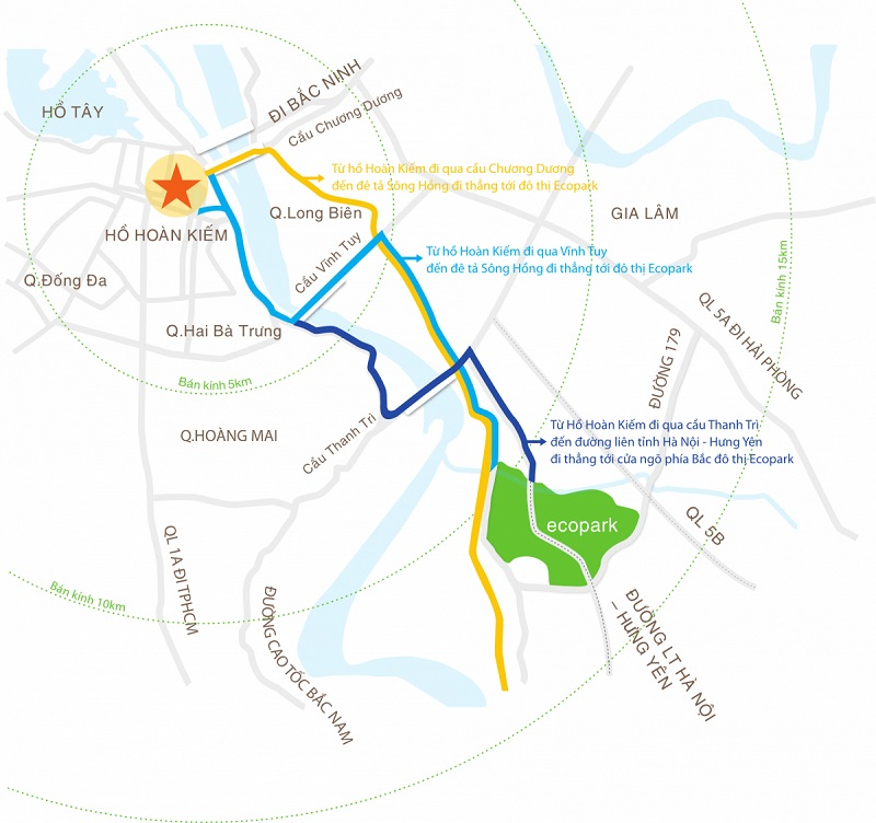 Chỉ dẫn đường đi đến Ecopark