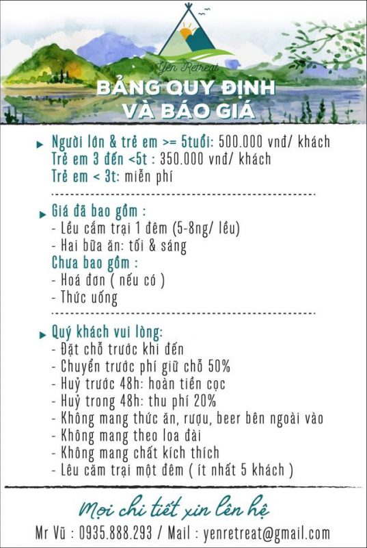 Bảng giá tại khu cắm trại Yên Retreat