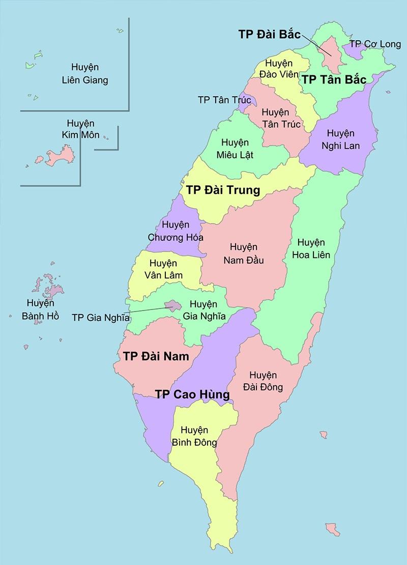 Bản đồ Đài Loan với các thành phố và huyện