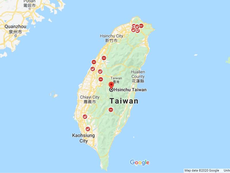 Vị trí của Đài Loan trên bản đồ