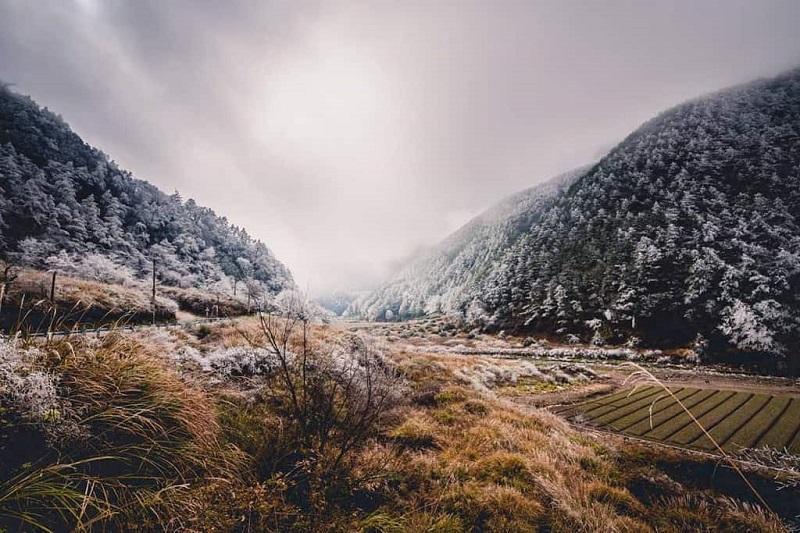 Mùa đông tuyết rơi phủ trắng khắp đồi núi ở Đài Loan