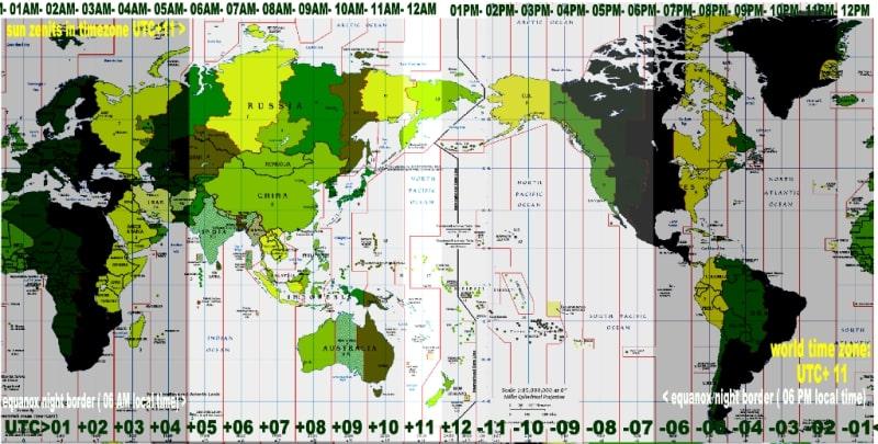 Bản đồ đổi giờ UTC