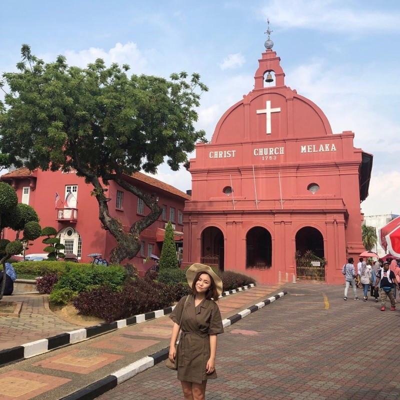 Bên ngoài bảo tàng Malacca ở Malaysia