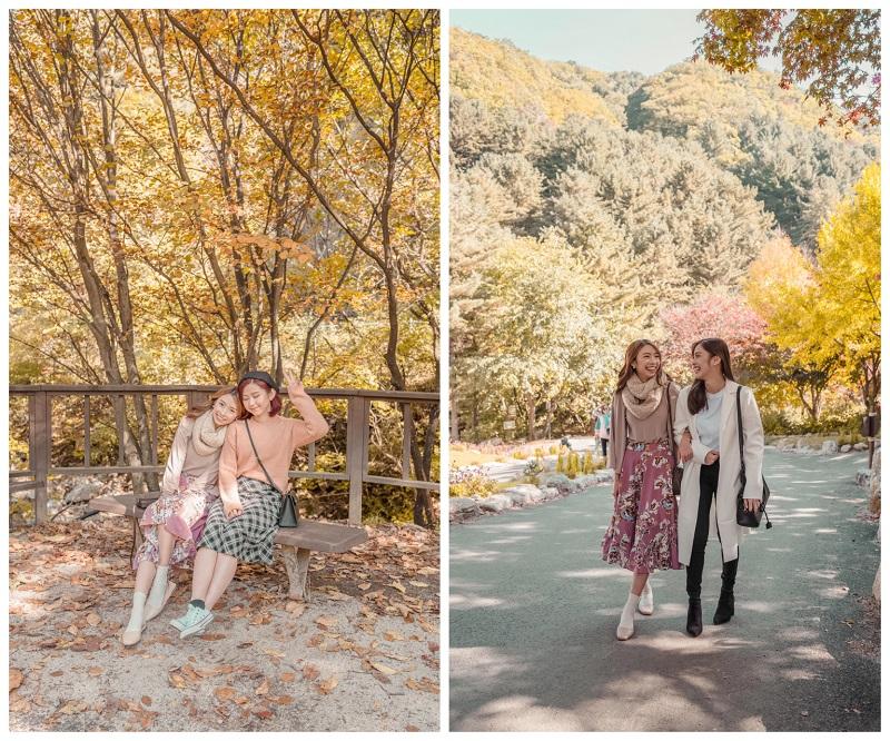 2 bạn gái check in trong những khu vườn mùa thu Hàn Quốc