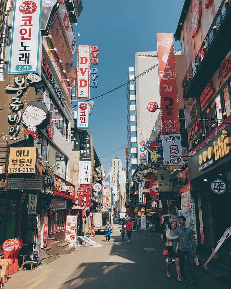 Một khu phố nhỏ sầm uất ở Seoul
