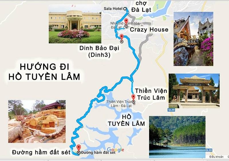 Bản đồ các địa điểm hướng đi hồ Tuyền Lâm
