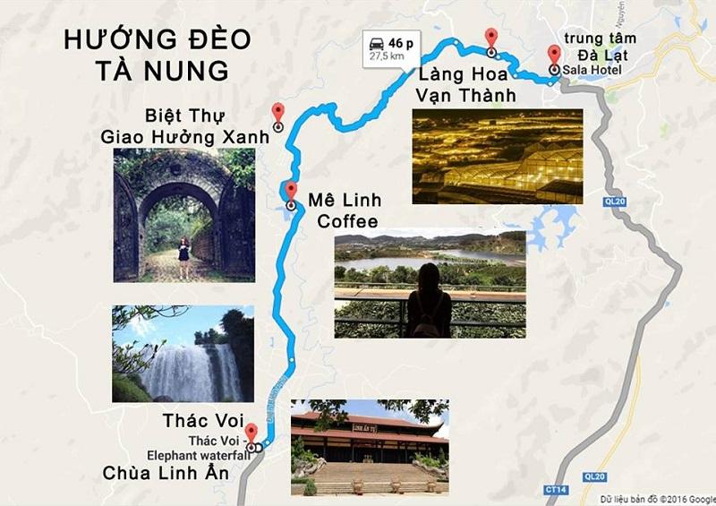 Các đia điểm du lịch nổi tiếng hướng đi đèo Tà Nung