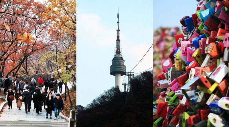 Công viên Namsan với tháp và những ổ khóa tình yêu