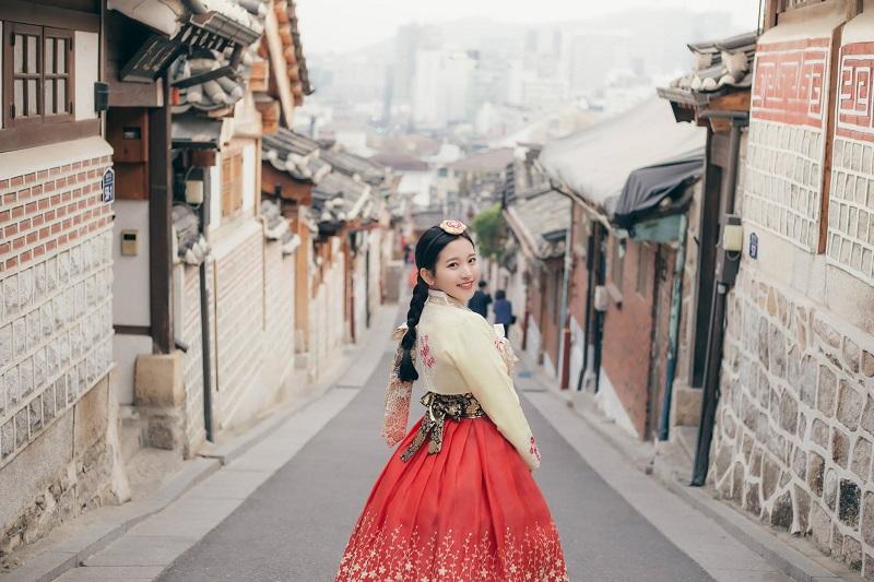 đoạn đường làng cổ Hanok Bukchon