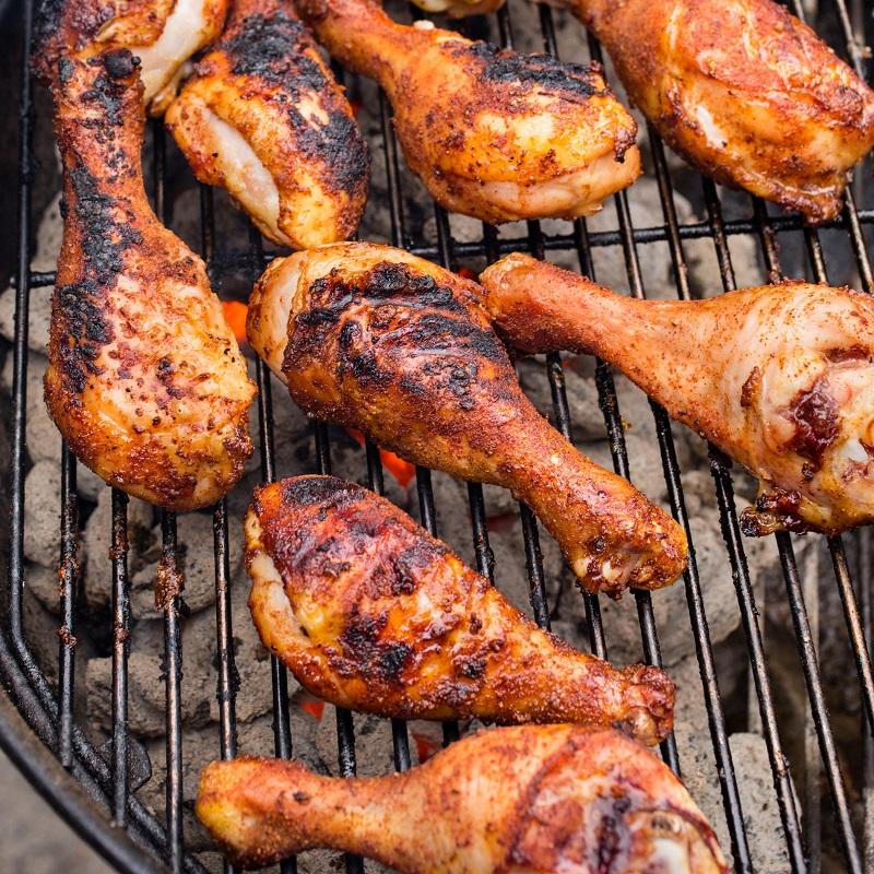Đùi ga fnướng muối ớt trên bếp than hoa