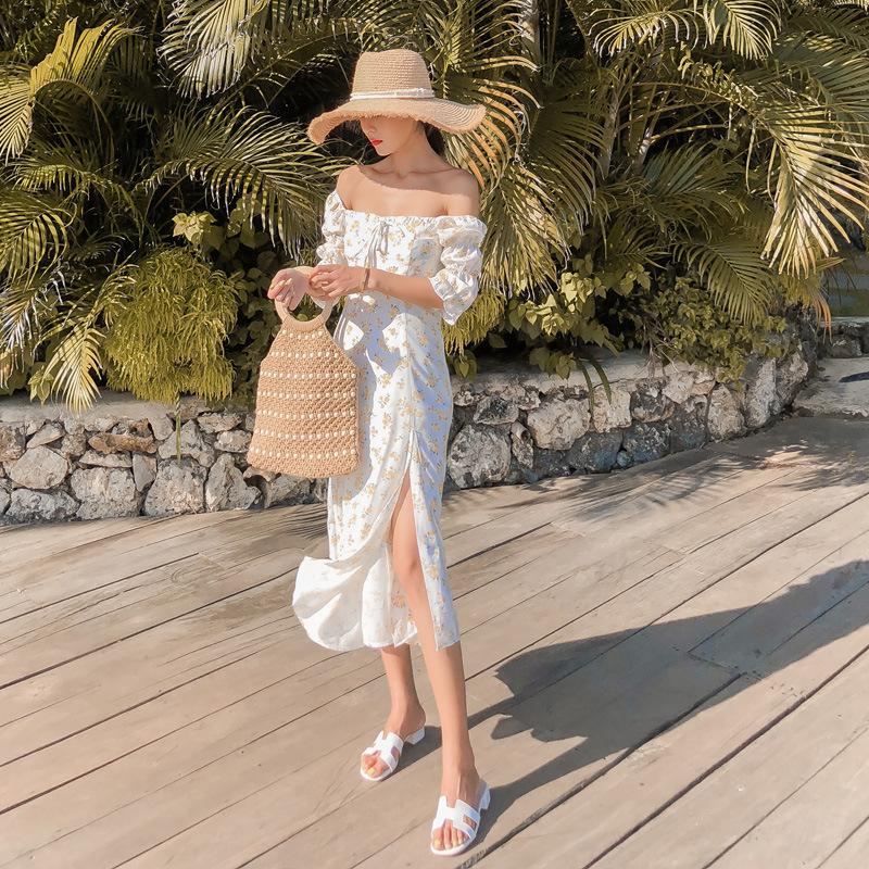 Đầm maxi đi biển trễ vai màu trắng xẻ tà