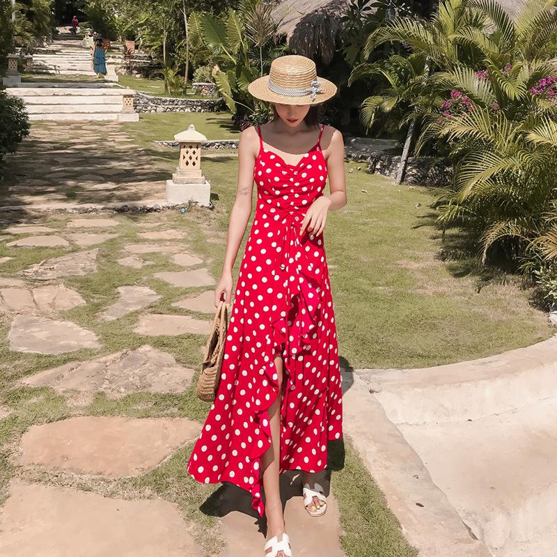 Váy maxi đi biển 2 dây chấm bi màu đỏ