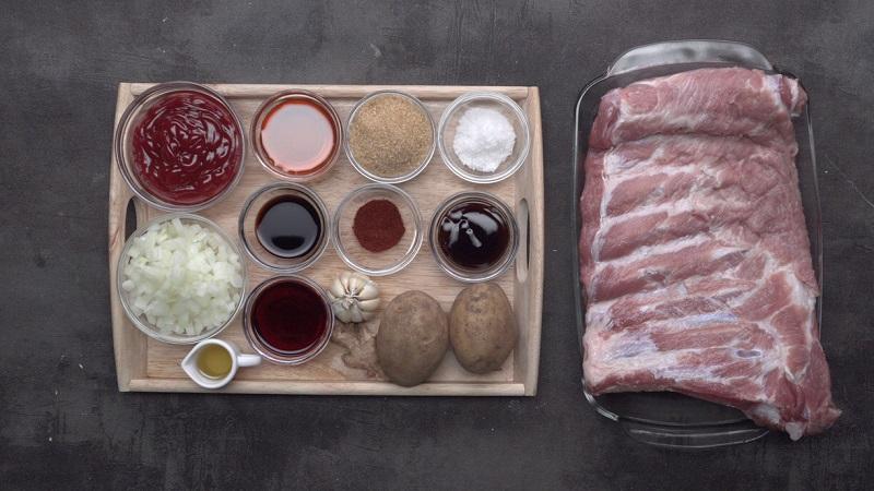 Các nguyên liệu để làm sườn bò nướng sa tế