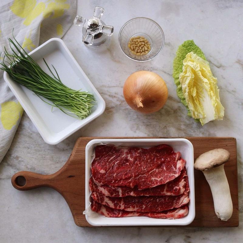 Các nguyên liệu để làm món thịt bò nướng Hàn Quốc