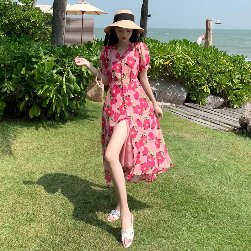 Váy maxi họa tiết hoa màu hồng nữ tính