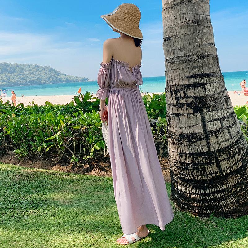 Váy maxi đi biển trễ vai