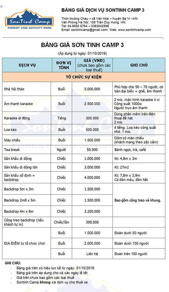 Bảng giá các dịch vụ của Sơn Tinh Camp 3