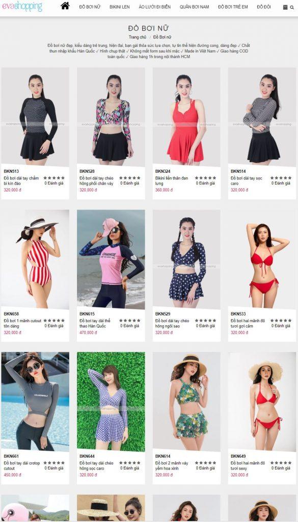 Trang web đồ bơi đồ đi biển Eva Shopping