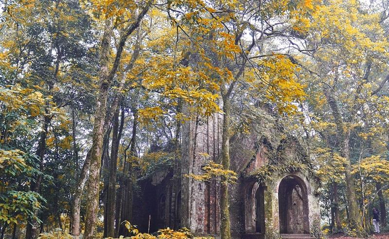 Quang cảnh bên ngoài nhà thờ đổ mang nét cổ kính, rêu phong