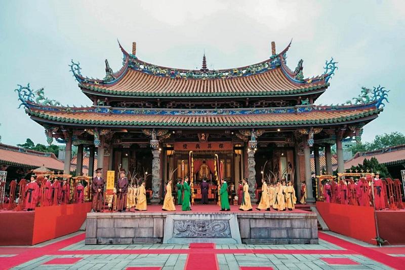 Một buổi lễ diễn ra ở đền thờ Nho Giáo