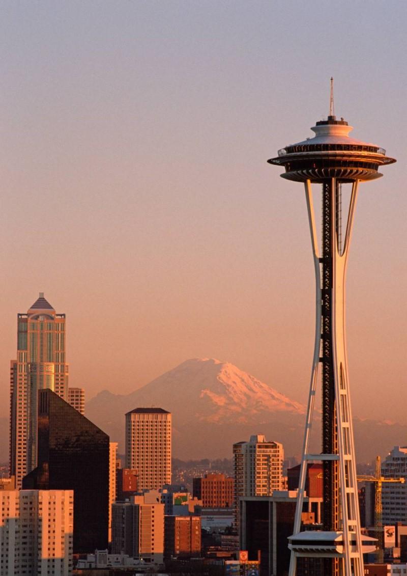 Khung cảnh hoàng hôn tại thành phố Seattle bang Washington
