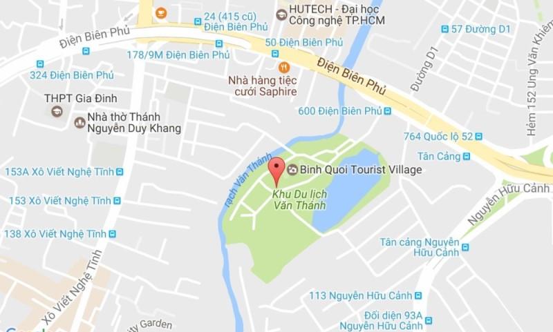 Bản đồ hồ bơi Văn Thánh ở Google Map