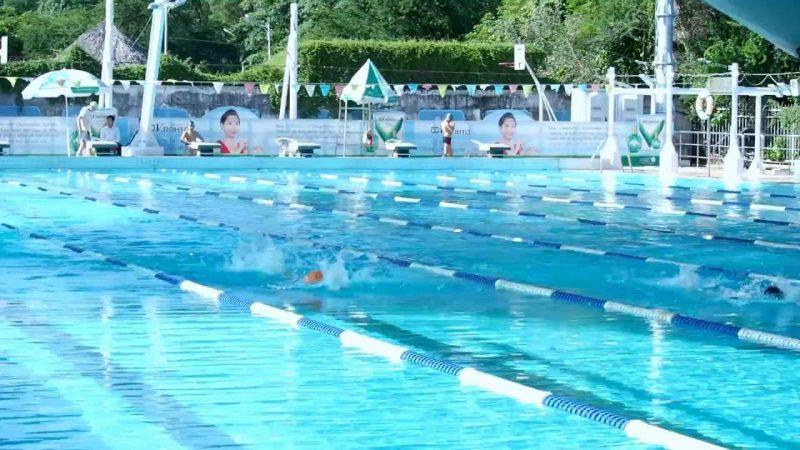 Không gian xanh mát ở hồ bơi CLB Bơi Lội Nguyễn Bỉnh Khiêm