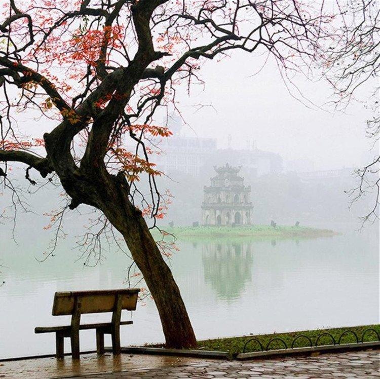 Sáng mủa đông Hà Nội tại Hồ gươm