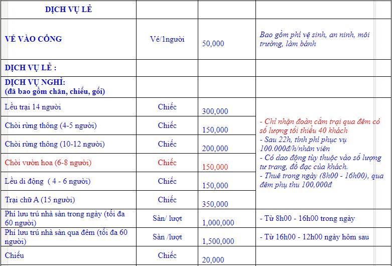 Bảng giá các dịch vụ ở Bản Rõm