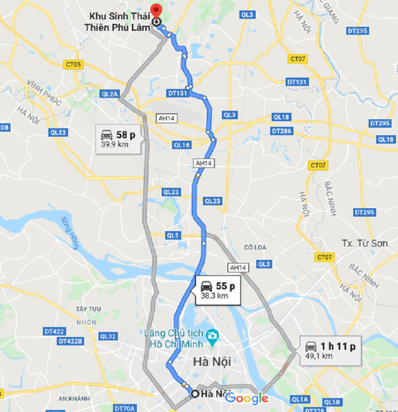 Bản đồ chỉ dẫn đường đi từ Hà Nội đến Thiên Phú Lâm