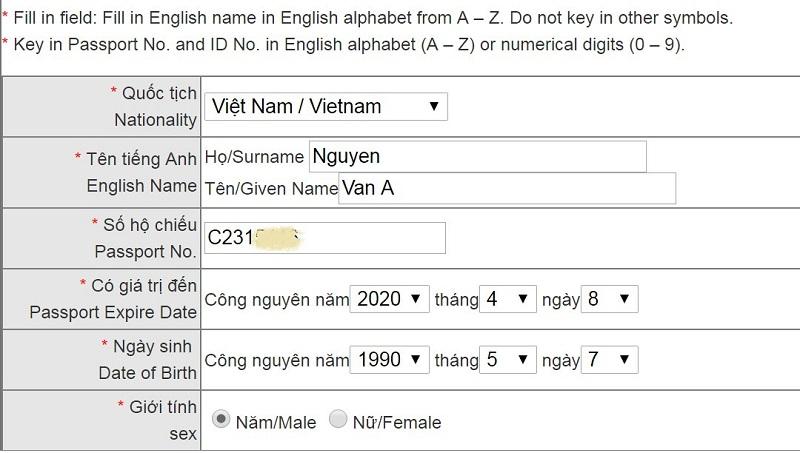 Hướng dẫn điền giấy đăng kí visa nhập cảnh Đài Loan online