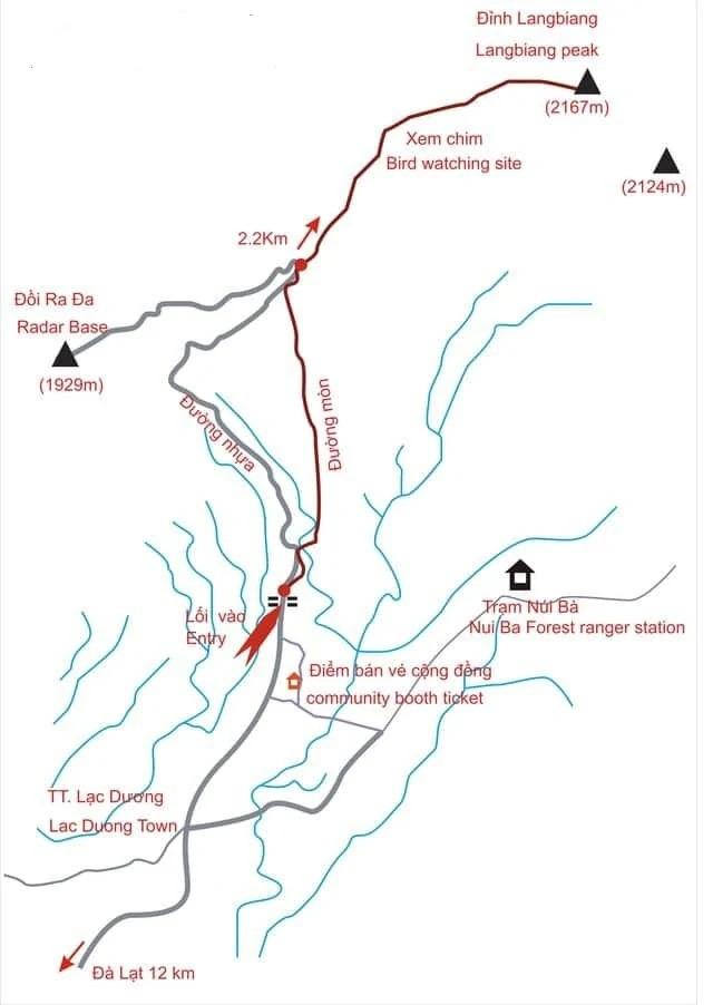 Bản đồ cung đường trekking đỉnh Langbiang