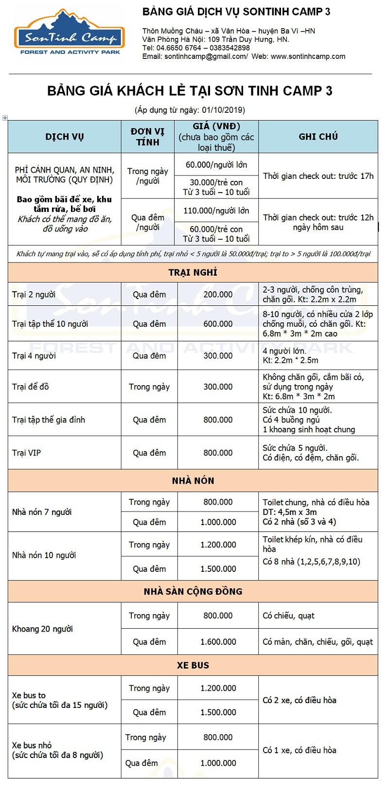 Bảng giá dịch vụ tại Sơn Tinh Camp 3