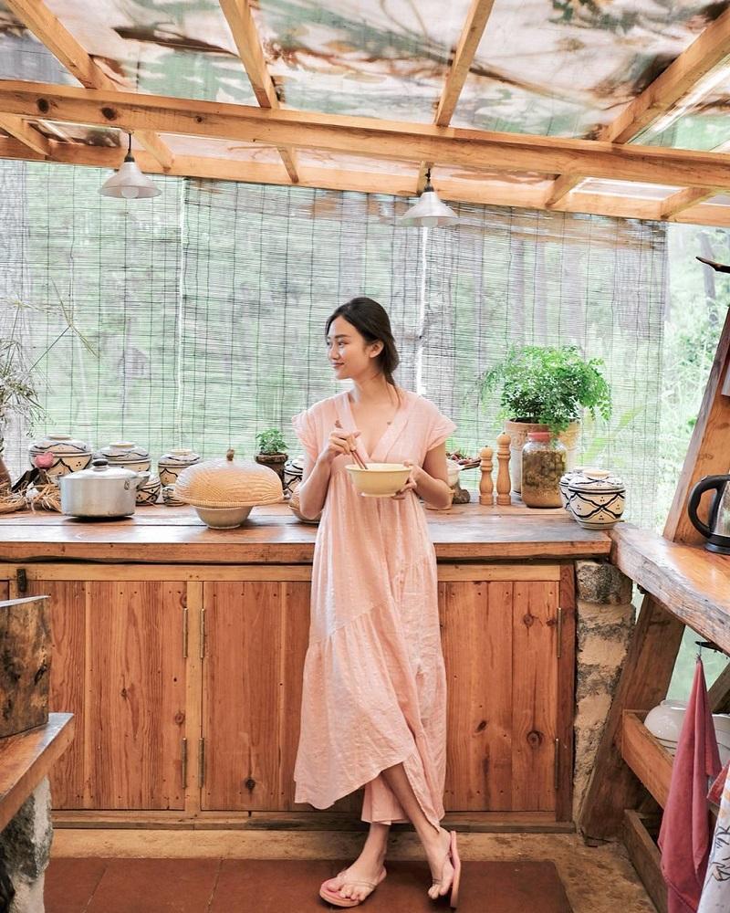 Không gian bếp đậm chất vintage ở Andante Farm & Lodge