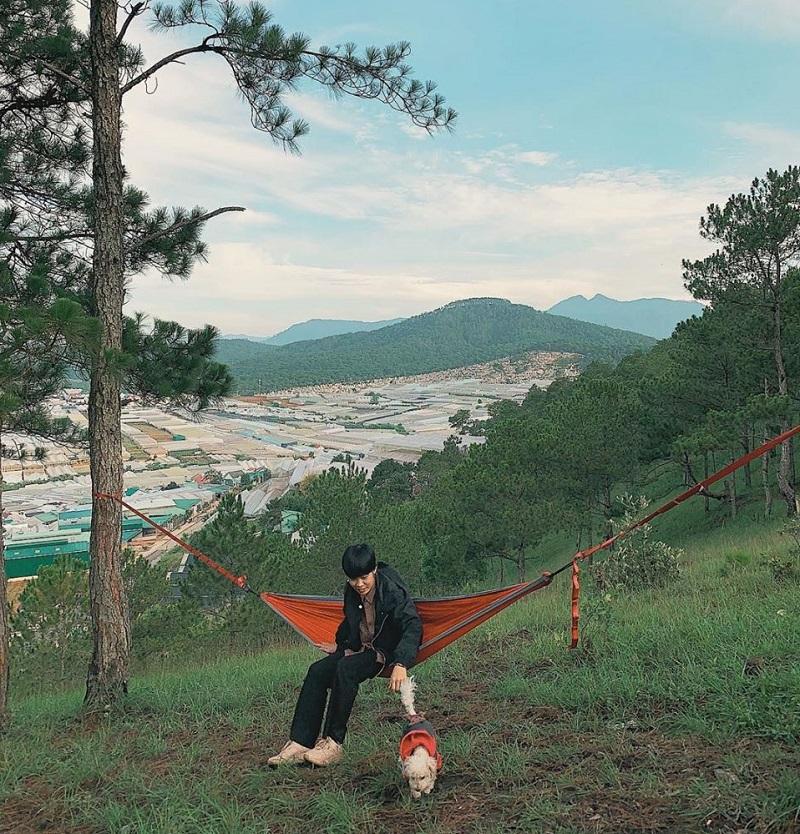 Mắc võng để nghỉ ngơi và ngắm cảnh trên Hòn Bồ